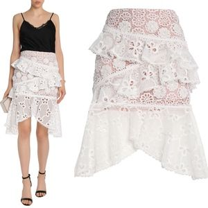ALEXIS Asymmetric Ruffled Lace High Low skirt